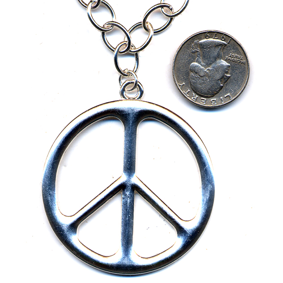 LEAD FREE PEACE HIPPIER NECKLACE ON A CHAIN SILVER COLOR